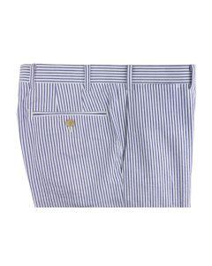 Seersucker blue white trousers