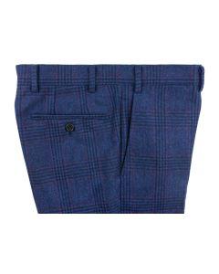 Wool plaid blue trousers