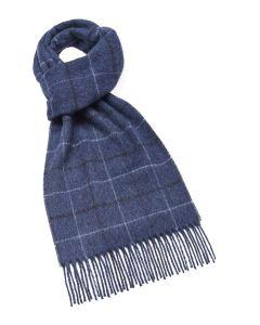 Blue plaid cashmere scarf