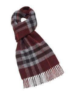 Burgundy plaid merino scarf