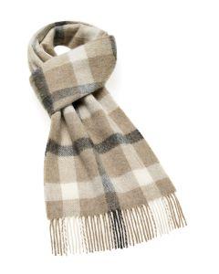 Camel grey plaid merino scarf