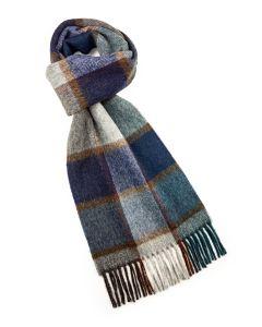 Blue brown plaid merino scarf