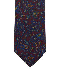 Ancient madder large paisley burgundy tie
