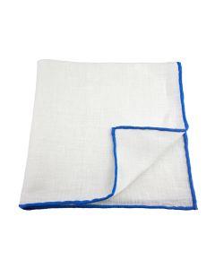Linen white with medium blue edge