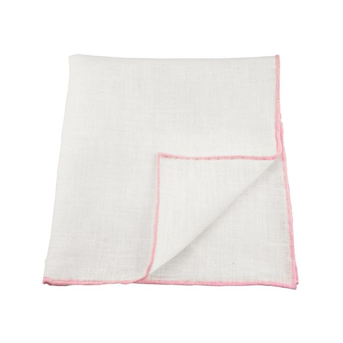 Linen white with pink edge