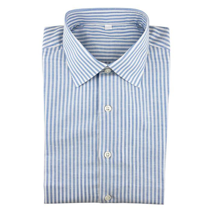Linen/cotton bengal stripe blue