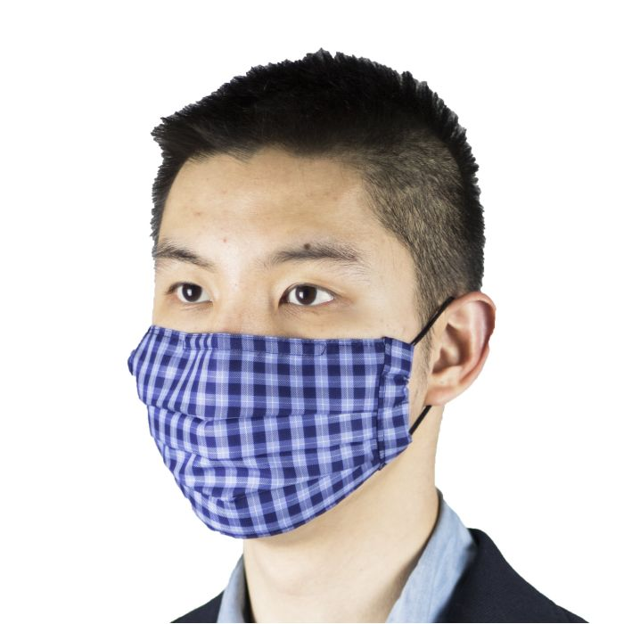 Face mask Thomas Mason gingham blue