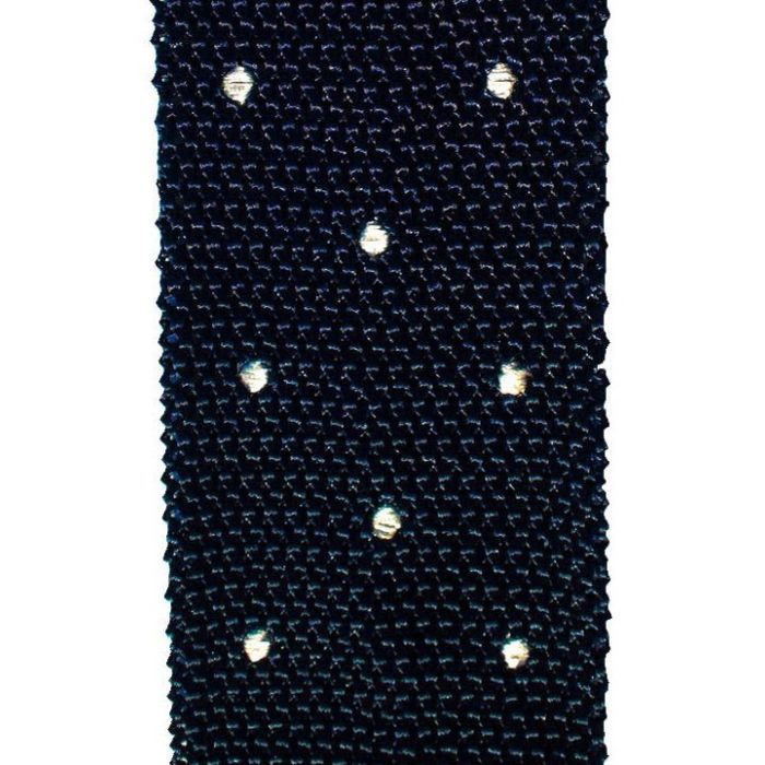 Knit navy with white dots