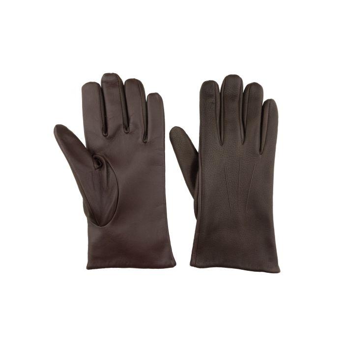 Deerskin gloves dark brown touchscreen