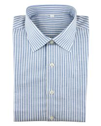 Linen/cotton bengal stripe blue
