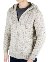 Cable knit hoodie cream