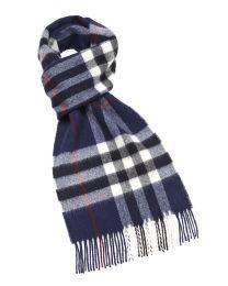 Navy plaid merino scarf