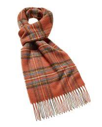 Royal Stewart orange tartan merino scarf