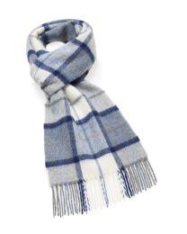 Light blue plaid merino scarf