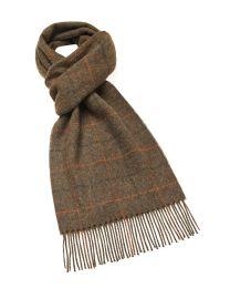Brown plaid cashmere scarf
