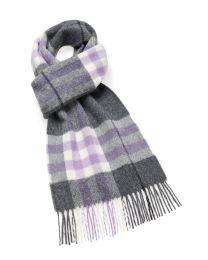 Lavender grey plaid merino scarf