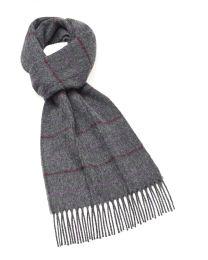 Grey plaid cashmere scarf