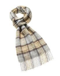 Tan grey plaid merino scarf