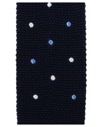 Knit navy with white and blue dots